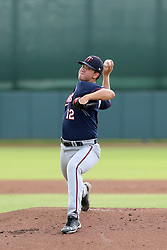 July 17, 2018 - Sarasota, FL, U.S. - Sarasota, FL - JUL 17: Donny Breek (12) of the Twins delivers a pitch to the plate during the Gulf Coast League (GCL) game between the GCL Twins and the GCL Orioles on July 17, 2018, at Ed Smith Stadium in Sarasota, FL. (Photo by Cliff Welch/Icon Sportswire) (Credit Image: © Cliff Welch/Icon SMI via ZUMA Press)