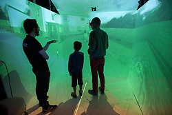 June 10, 2017 - Paris, France - A 5-sided virtual reality cube that allows the user to be immerse in a scale 1/1 environnemnt, during Â« Futur en Seine », an international festival dedicated to digital innovations,  in the Â« La Villette » big hall, in Paris, on June 10, 2017. (Credit Image: © Michel Stoupak/NurPhoto via ZUMA Press)
