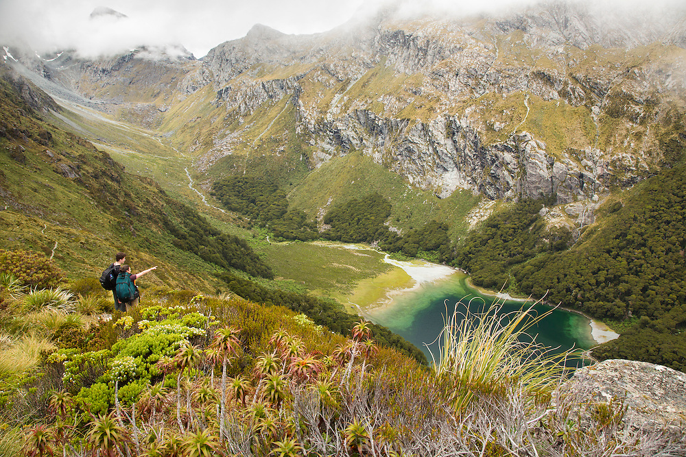 Hikers looking out to Lake Mackenzie, Routeburn Track, South Island, New Zealand