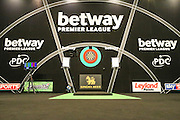 The main stage during the Betway Premier League Darts Play-Offs at the O2 Arena, London, United Kingdom on 19 May 2016. Photo by Shane Healey.