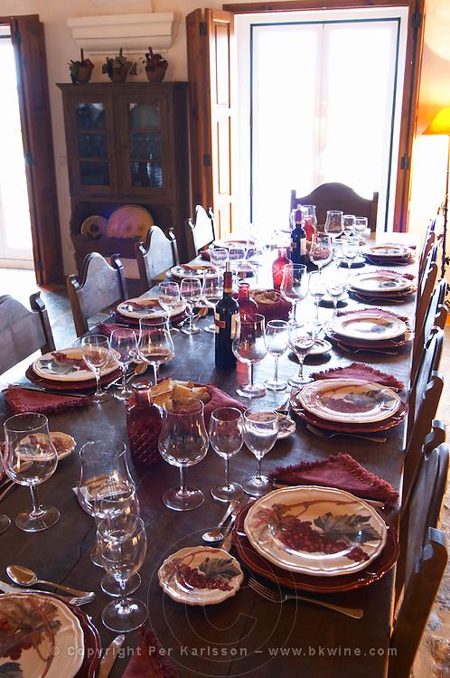 Wine tasting. Lunch table. J Portugal Ramos Vinhos, Estremoz, Alentejo, Portugal