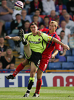 Photo: Lee Earle.<br /> Crystal Palace v Sheffield United. Coca Cola Championship. 22/09/2007. United's Chris Morgan (L) battles with james Scowcroft