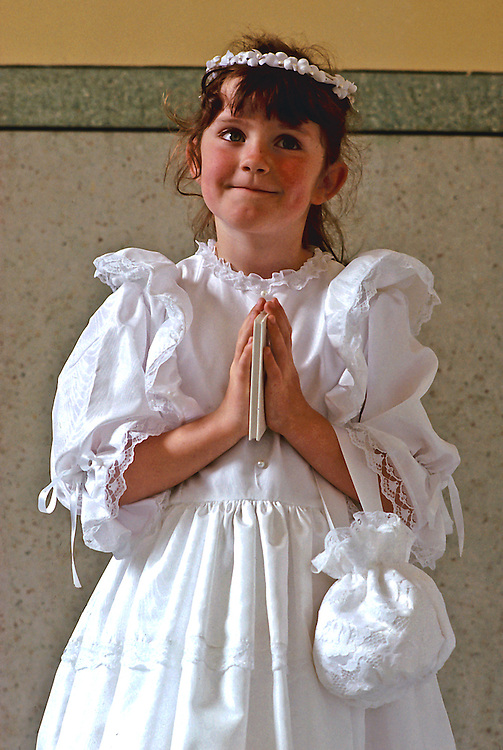 A girl on her first Communion.