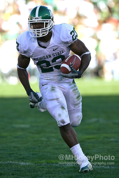 Michigan State's Javon Ringer seen during action against Notre Dame on September 22, 2007 in South Bend, Indiana.