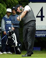 Photograph: Scott Heavey<br />Volvo PGA Championship At Wentworth Club. 25/05/2003.<br />Nick Faldo drives from the 4th.