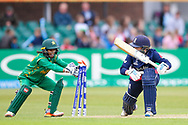 England womens cricket player Heather Knight (capt) is in her ground as Pakistan womens cricket player Sidra Nawaz (wk) attempts a stumping during the ICC Women's World Cup match between England and Pakistan at the Fischer County Ground, Grace Road, Leicester, United Kingdom on 27 June 2017. Photo by Simon Davies.