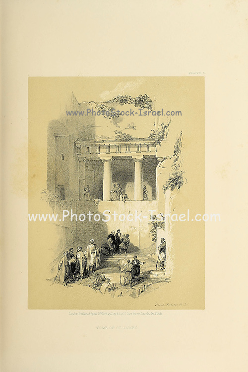 Tomb of St. James, Jerusalem The Holy Land : Syria, Idumea, Arabia, Egypt & Nubia by Roberts, David, (1796-1864) Engraved by Louis Haghe. Volume 1. Book Published in 1855 by D. Appleton & Co., 346 & 348 Broadway in New York.