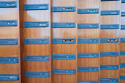 Many letterboxes in an apartment building in Java Island district of Amsterdam in the Netherlands