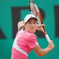 05 June 2007: Belgian player Justine Henin hits a backhand shot to US player Serena Williams during the French Tennis Open quarter final match won 6-4, 6-3 by Justine Henin over Serena Williams on day 10 at Roland Garros, in Paris, France.