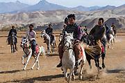 Men practising a traditional Buzkashi game, Yaklawang, Afghanistan