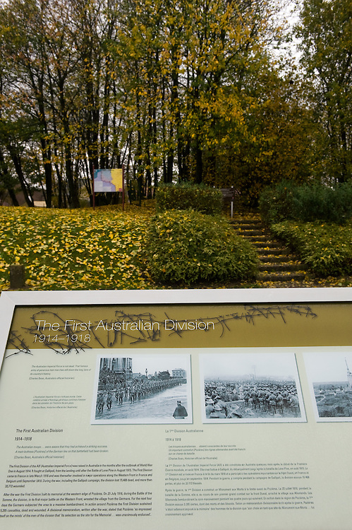 """The information panels near First Australian Division Memorial  the that explain the sites, on the back under the trees  is the """"Gibraltar Blockhouse""""  The Battle of Pozières was a two week struggle (23 July – 7 August 1916) by British and Australian divisions for the capture of the village of Pozieres during  the 1916 battle of the Somme."""