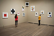 Tate Modern's new exhibition, of the avant-garde work of Russian Kazimir Malevich. Here a room laid out with a collection of paintings from 'the Last Exhibition of Futurist Painting' - exactly as it was in the original exhibition.  Tate Modern, Bankside, London, UK.