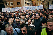 Manifestazione di protesta degli autotrasportatori e dei <br />