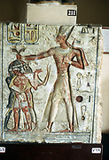 Rameses II, The Great (1304-1237 BC) third king of 19th dynasty, Ancient Egypt. Rameses with Nubian prisoners. Painted relief.