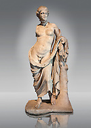 Greek marble Statue of Hermaphroditius ( Hermaphrodites) a mythical being that has both male & female characteristics. From Pergamum (Bergama) Turkey. Istanbul Archaeology Museum, Inv 363T Cat. Mendel 624. .<br /> <br /> If you prefer to buy from our ALAMY STOCK LIBRARY page at https://www.alamy.com/portfolio/paul-williams-funkystock/greco-roman-sculptures.html- Type -    Istanbul    - into LOWER SEARCH WITHIN GALLERY box - Refine search by adding a subject, place, background colour, museum etc.<br /> <br /> Visit our CLASSICAL WORLD HISTORIC SITES PHOTO COLLECTIONS for more photos to download or buy as wall art prints https://funkystock.photoshelter.com/gallery-collection/The-Romans-Art-Artefacts-Antiquities-Historic-Sites-Pictures-Images/C0000r2uLJJo9_s0c