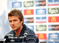 Photo: Chris Ratcliffe.<br />England Press Conference. FIFA World Cup 2006. 29/06/2006.<br />David Beckham addresses the media.