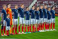 The Scotland U21 team sing the national anthem before the U21 UEFA EUROPEAN CHAMPIONSHIPS match between Scotland and England at Tynecastle Stadium, Edinburgh, Scotland on 16 October 2018.