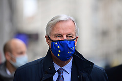 © Licensed to London News Pictures. 09/11/2020. London, UK. Chief EU negotiator MICHEL BARNIER (centre) and members of his team arrive at The Department for Business, Energy and Industrial Strategy, for a new round of negotiations between the UK Government and the EU