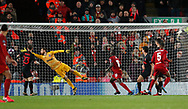Georginio Wijnaldum of Liverpool heads the first goal  past Jan Oblak of Atletico Madrid during the UEFA Champions League match at Anfield, Liverpool. Picture date: 11th March 2020. Picture credit should read: Darren Staples/Sportimage