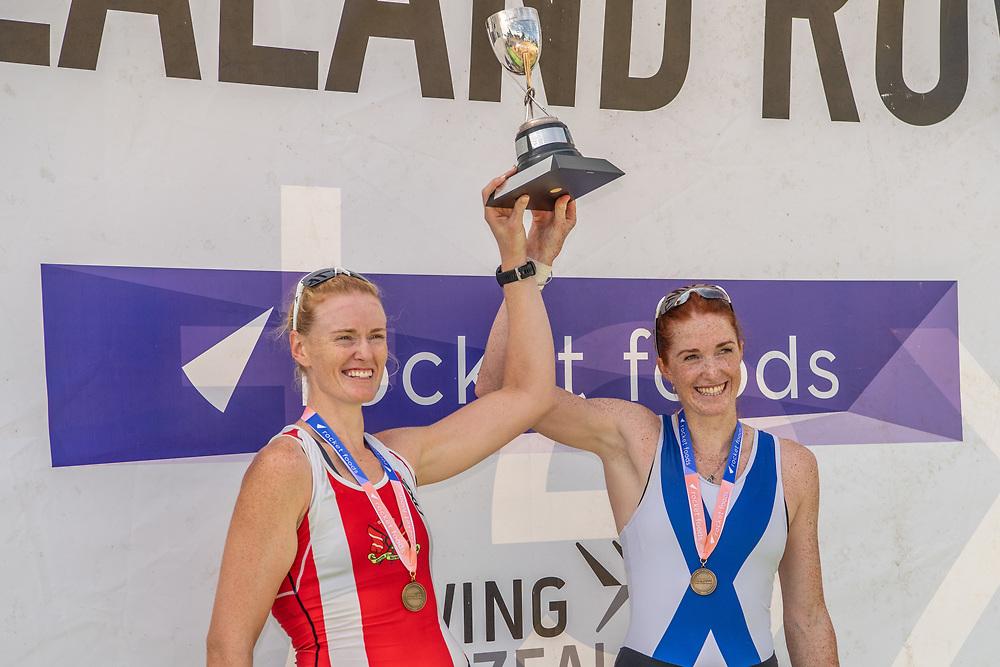 Grace Prendergast and Emma Dyke winners of the women's pair <br /> <br /> NZ National Club Rowing Championships, Lake Karapiro, Cambridge, New Zealand. Friday 21st February 2020.  Copyright photo © Steve McArthur / www.photosport.nz