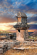 A Lycian  marble pillar tomb from 480-470 B.C.  Xanthos UNESCO World Heritage Archaeological Site, Turkey<br /> <br /> If you prefer to buy from our ALAMY PHOTO LIBRARY  Collection visit : https://www.alamy.com/portfolio/paul-williams-funkystock/xanthos-lycian-turkey.html<br /> <br /> Visit our ANCIENT WORLD PHOTO COLLECTIONS for more photos to download or buy as wall art prints https://funkystock.photoshelter.com/gallery-collection/Ancient-World-Art-Antiquities-Historic-Sites-Pictures-Images-of/C00006u26yqSkDOM