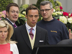 James Middleton, brother of Kate Middleton leaves the Goring Hotel in London, ahead of the Royal Wedding.