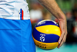A feature of a ball during volleyball match between National teams of Slovenia and Russia in quaterfinals of 2019 CEV Volleyball Men's European Championship in Ljubljana, on September 23, 2019 in Arena Stozice. Ljubljana, Slovenia. Photo by Matic Klansek Velej / Sportida