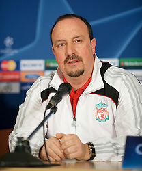EINDHOVEN, THE NETHERLANDS - Monday, December 8, 2008: Liverpool's manager Rafael Benitez during a press conference at the Philips Stadium ahead of the final UEFA Champions League Group D mach against PSV Eindhoven. (Photo by David Rawcliffe/Propaganda)