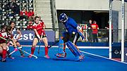 Holcombe's Grace Lawes makes a save. Holcombe v Surbiton - Investec Women's Hockey League Final, Lee Valley Hockey & Tennis Centre, London, UK on 23 April 2017. Photo: Simon Parker