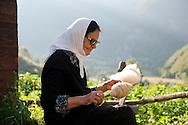 Woman spinning wool at Kujtim Gocaj Guesthouse, Çeremi, Peaks of the Balkans trail, Albania © Rudolf Abraham
