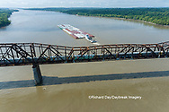63807-01302 Barge on the Mississippi river and train crossing the Thebes bridge near Thebes, IL