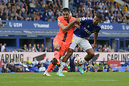 Norwich City defender Ozan Kabak  (15)  and Everton forward Salomón Rondón (33) battles for possession during the Premier League match between Everton and Norwich City at Goodison Park, Liverpool, England on 25 September 2021.