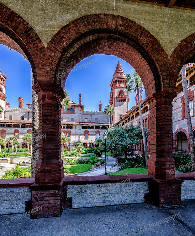 Portico around courtyard at Flagler College, a liberal arts school built by Henry Flagler in St Augustine