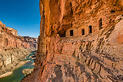 We hiked to the prehistoric Nankoweap Granaries (1 mile round trip with 700-foot gain) from Main Nankoweap Camp at Colorado River Mile 53.4 for this view of Marble Canyon. In 1960, archaeologist Douglas W. Schwartz found corncobs, a pumpkin shell, and pumpkin seeds inside the granaries, evidently harvested from Nankoweap Creek Delta by Ancestral Puebloans between AD 1050 and 1150. This image is from Day 3 of 16 days boating 226 miles down the Colorado River in Grand Canyon National Park, Arizona, USA.