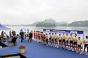 Bled, SLOVENIA,  Men's  Eights, GBR M8+ gold medalist, medal presentation,  at the 1st FISA World Cup. Third day. Bow, Nataniel REILLY-O'DONNELL, James CLARKE, James ORME, James FOAD, Mohamad SBIHI, Greg SEARLE, Peter REED, Daniel RITCHIE and Cox Phelan HILL. Rowing Course. Church Island, Lake Bled.  Sunday  30/05/2010  [Mandatory Credit Peter Spurrier/ Intersport Images]