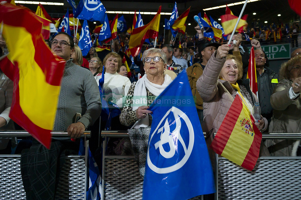 April 27, 2019 - Madrid, Spain - People's Party during his party's election campaign closing at Wizink Center on April 26, 2019 in Madrid, Spain. Spaniards go to the polls to elect 350 members of the parliament and 208 senators this Sunday. This will be the 13th General Election since the transition to democracy resulting in the Constitution of 1978. There are five main parties: the two traditional parties are the right-wing Partido Popular (People's Party) and the centre-left Partido Socialista Obrero Espanol or PSOE (Spanish Socialist Workers's Party), along with right-wing parties Ciudadanos (Citizens) and VOX and the left wing party, Unidas Podemo  (Credit Image: © Oscar Gonzalez/NurPhoto via ZUMA Press)