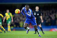 Kurt Zouma of Chelsea in action wearing a black arm band with the national flag of France in a mark of respect for the Paris attacks. Barclays Premier league match, Chelsea v Norwich city at Stamford Bridge in London on Saturday 21st November 2015.<br /> pic by John Patrick Fletcher, Andrew Orchard sports photography.
