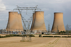 High Marnham power station, Nottinghamshire,  England. The station is derelict, the chimneys and boiler house having already been demolished.