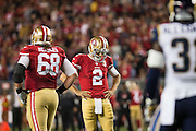 San Francisco 49ers quarterback Blaine Gabbert (2) reacts to not converting for a first down against the Los Angeles Rams at Levi's Stadium in Santa Clara, Calif., on September 12, 2016. (Stan Olszewski/Special to S.F. Examiner)