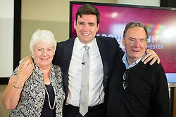 © Licensed to London News Pictures . 09/08/2016 . Salford , UK . ANDY BURNHAM MP with his mother EILEEN and father ROY , after he is selected as Labour's candidate in the race to be the Mayor of Greater Manchester . He and fellow candidates Ivan Lewis and Tony Lloyd were at an event at The Landing in Media City , Salford , for the declaration . Photo credit : Joel Goodman/LNP