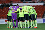 Brighton huddle up during the FA Youth Cup match between U18 Nottingham Forest and U18 Brighton at the City Ground, Nottingham, England on 10 December 2015. Photo by Simon Davies.