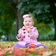First portrait of daughter in Boston Public Gardens