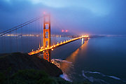 the golden gate bridge during sunrise, shooting from marin towards san francisco