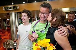 Rajmond Debevec with his wife Metka during reception of Slovenian Olympic team, on August 7, 2012 in Airport Joze Pucnik, Brnik, Slovenia.  (Photo by Matic Klansek Velej / Sportida)