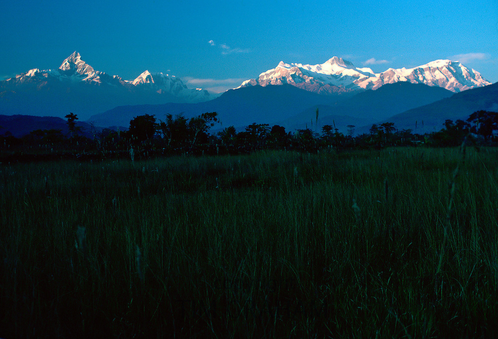 Sunset over  the Himalayas seen from Pokhara Valley, Nepal