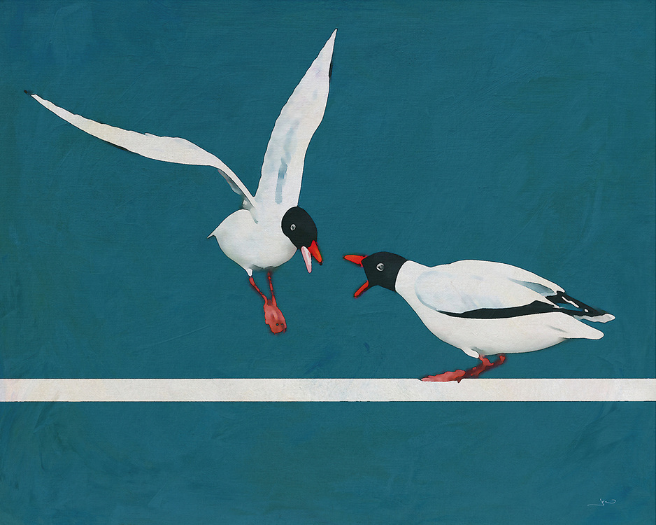 When we think of seagulls, we think of birds who transport us to the ocean, and to clear skies above the sea. At the same time, they are also fierce, determined animals. This fine art piece by Jan Keteleer depicts that fact in no uncertain terms. There is a visual poetry to be found in this moment captured in time. -<br />