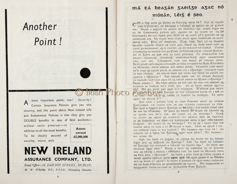 All Ireland Senior Hurling Championship Final,.Brochures,.03.09.1950, 09.03.1950, 3rd September 1950, .Tipperary 1-9, Kilkenny 1-8, .Minor Tipperary v Kilkenny,.Senior Tipperary v Kilkenny, .Croke Park, ..Advertisements, Another Point!, New Ireland Assurance Company Ltd, ..Articles, Ma Ta Beagan Gaeilge Agat No Moran Leig E Seo,