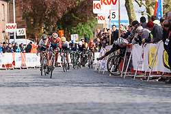 Christine Majerus (Boels Dolmans) sprints to victory as Marianne Vos crashes out at Dwars door de Westhoek 2016. A 127km road race starting and finishing in Boezinge, Belgium on 24th April 2016.