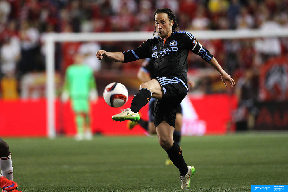 Ned Grabavoy, NYCFC, in action during the New York Red Bulls Vs NYCFC, MLS regular season match at Red Bull Arena, Harrison, New Jersey. USA. 10th May 2015. Photo Tim Clayton