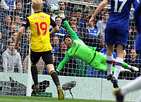 Football - 2018 / 2019 Premier League - Chelsea vs. Watford<br /> <br /> Chelsea goalkeeper, Kepa Arrizabalaga makes a finger tip save, at Stamford Bridge.<br /> <br /> COLORSPORT/ANDREW COWIE